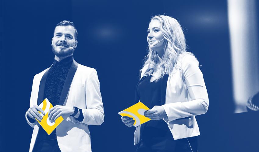 Presentatörer på Akademisk högtid 2019: Johanna Granander & Oskar M Wiik