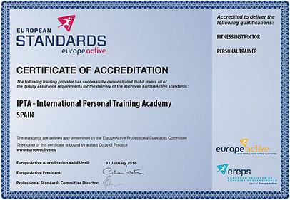 Certificate of Accreditation – IPTA Marbella Spain